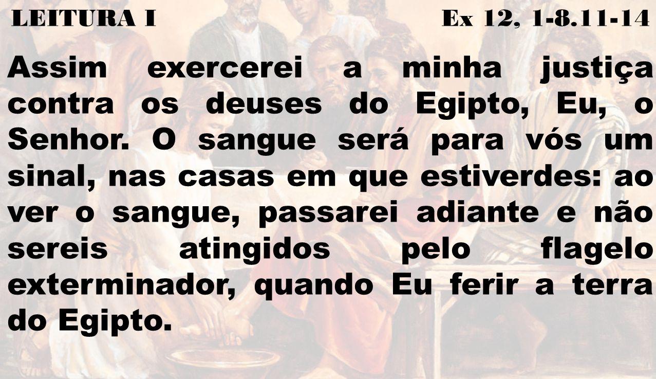 LEITURA I Ex 12, 1-8.11-14 Assim exercerei a minha justiça contra os deuses do Egipto, Eu, o Senhor. O sangue será para vós um sinal, nas casas em que