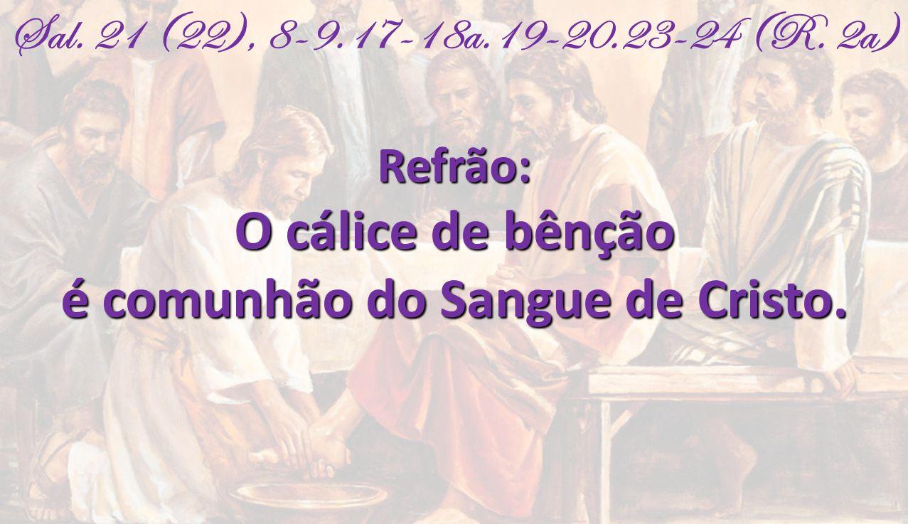 Sal. 21 (22), 8-9.17-18a.19-20.23-24 (R. 2a)Refrão: O cálice de bênção é comunhão do Sangue de Cristo.