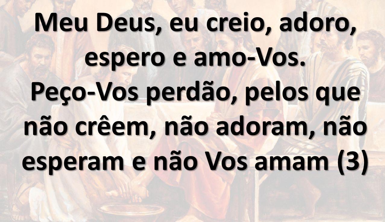 Meu Deus, eu creio, adoro, espero e amo-Vos. Peço-Vos perdão, pelos que não crêem, não adoram, não esperam e não Vos amam (3)