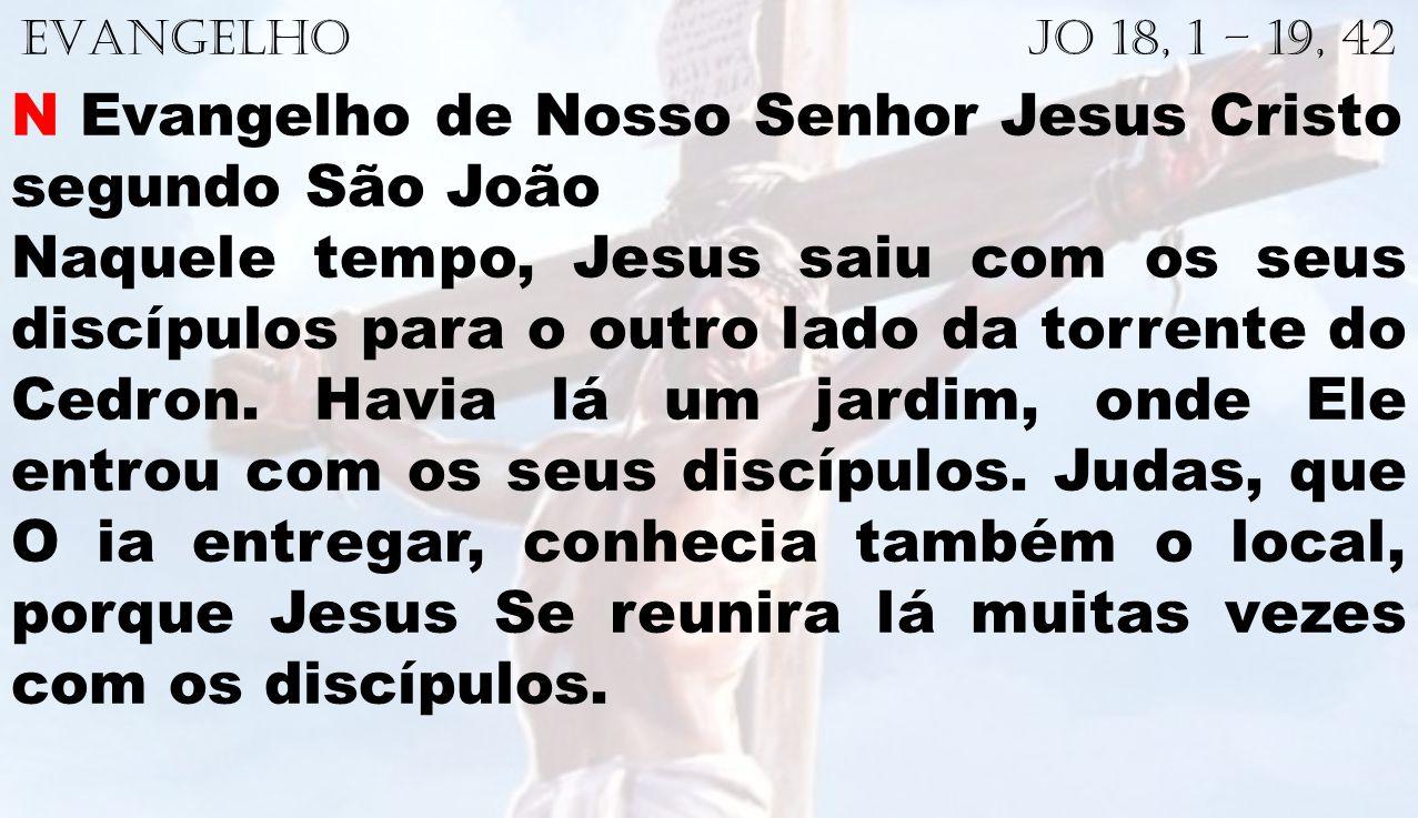EVANGELHO Jo 18, 1 – 19, 42 N Evangelho de Nosso Senhor Jesus Cristo segundo São João Naquele tempo, Jesus saiu com os seus discípulos para o outro la