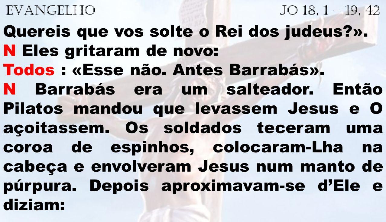 EVANGELHO Jo 18, 1 – 19, 42 Quereis que vos solte o Rei dos judeus?». N Eles gritaram de novo: Todos : «Esse não. Antes Barrabás». N Barrabás era um s