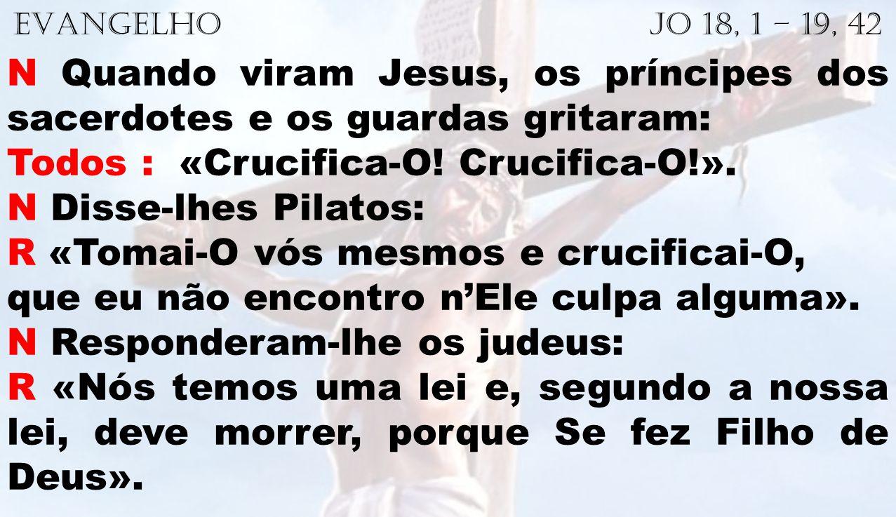 EVANGELHO Jo 18, 1 – 19, 42 N Quando viram Jesus, os príncipes dos sacerdotes e os guardas gritaram: Todos : «Crucifica-O! Crucifica-O!». N Disse-lhes
