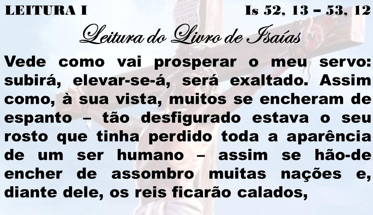 LEITURA I Is 52, 13 – 53, 12 Leitura do Livro de Isaías Vede como vai prosperar o meu servo: subirá, elevar-se-á, será exaltado. Assim como, à sua vis