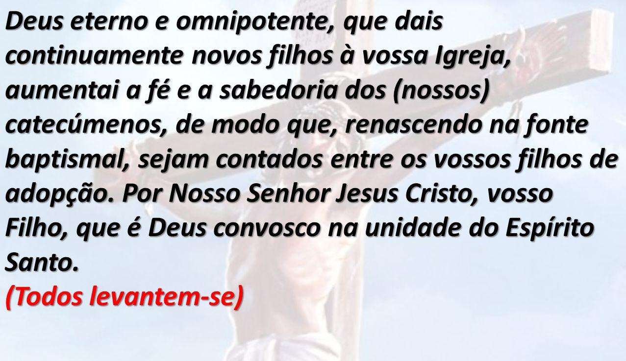 Deus eterno e omnipotente, que dais continuamente novos filhos à vossa Igreja, aumentai a fé e a sabedoria dos (nossos) catecúmenos, de modo que, rena