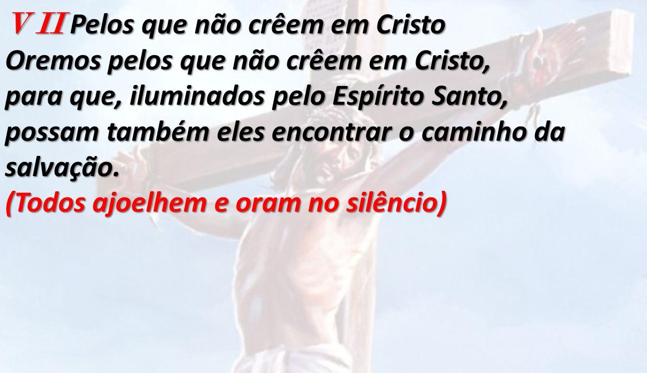 V II Pelos que não crêem em Cristo Oremos pelos que não crêem em Cristo, para que, iluminados pelo Espírito Santo, possam também eles encontrar o cami