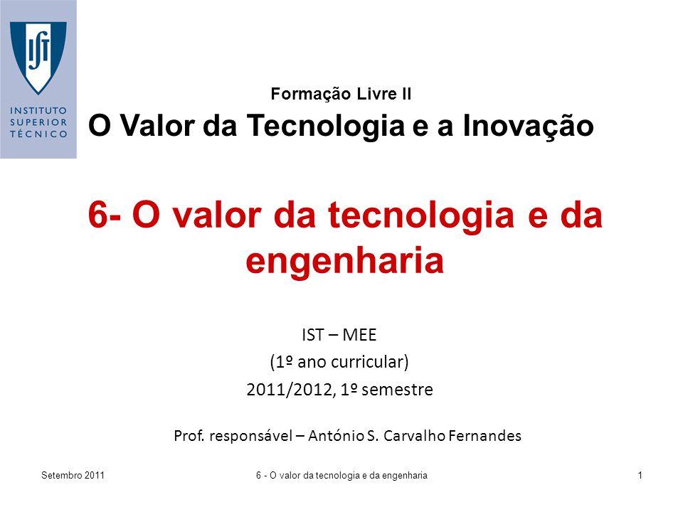 Setembro 20116 - O valor da tecnologia e da engenharia1 Formação Livre II O Valor da Tecnologia e a Inovação IST – MEE (1º ano curricular) 2011/2012, 1º semestre Prof.