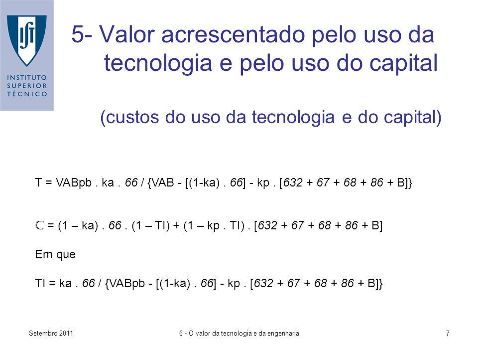 Setembro 20116 - O valor da tecnologia e da engenharia7 5- Valor acrescentado pelo uso da tecnologia e pelo uso do capital (custos do uso da tecnologia e do capital) T = VABpb.