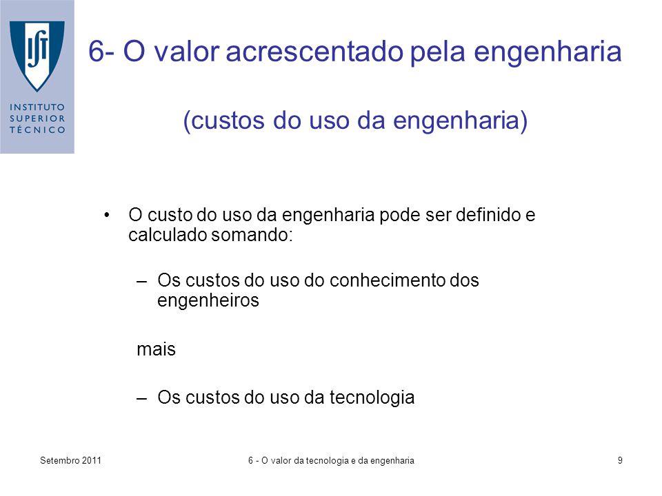 Setembro 20116 - O valor da tecnologia e da engenharia9 6- O valor acrescentado pela engenharia (custos do uso da engenharia) O custo do uso da engenharia pode ser definido e calculado somando: –Os custos do uso do conhecimento dos engenheiros mais –Os custos do uso da tecnologia