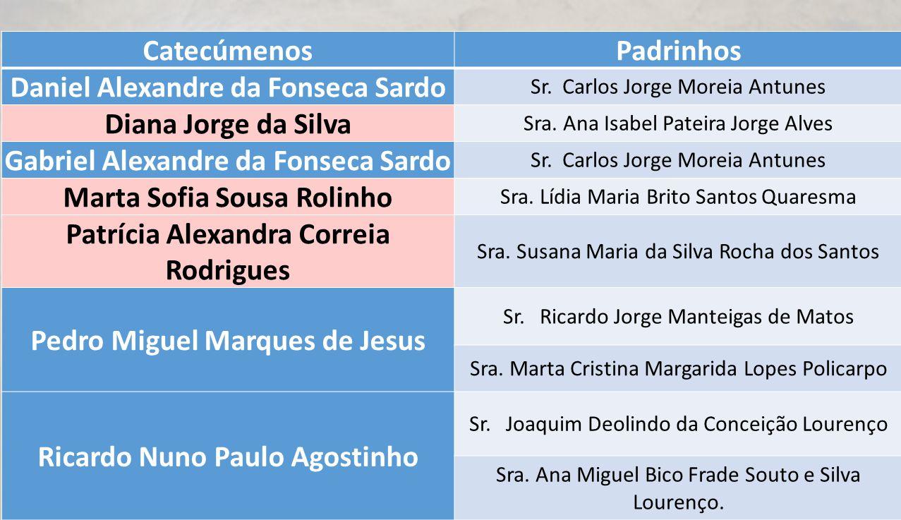 CatecúmenosPadrinhos Daniel Alexandre da Fonseca Sardo Sr. Carlos Jorge Moreia Antunes Diana Jorge da Silva Sra. Ana Isabel Pateira Jorge Alves Gabrie