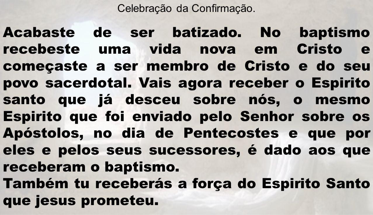 Celebração da Confirmação. Acabaste de ser batizado. No baptismo recebeste uma vida nova em Cristo e começaste a ser membro de Cristo e do seu povo sa