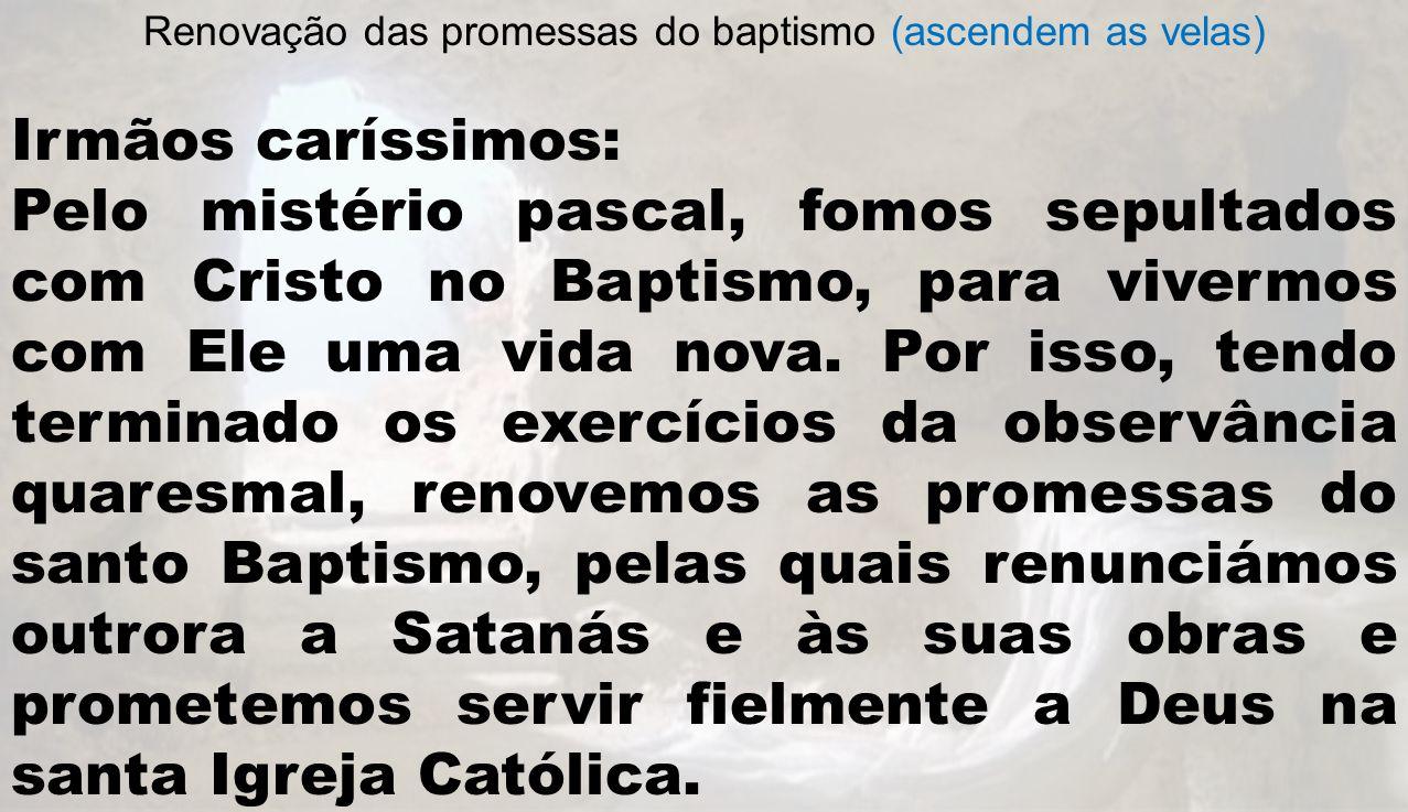 Renovação das promessas do baptismo (ascendem as velas) Irmãos caríssimos: Pelo mistério pascal, fomos sepultados com Cristo no Baptismo, para vivermo