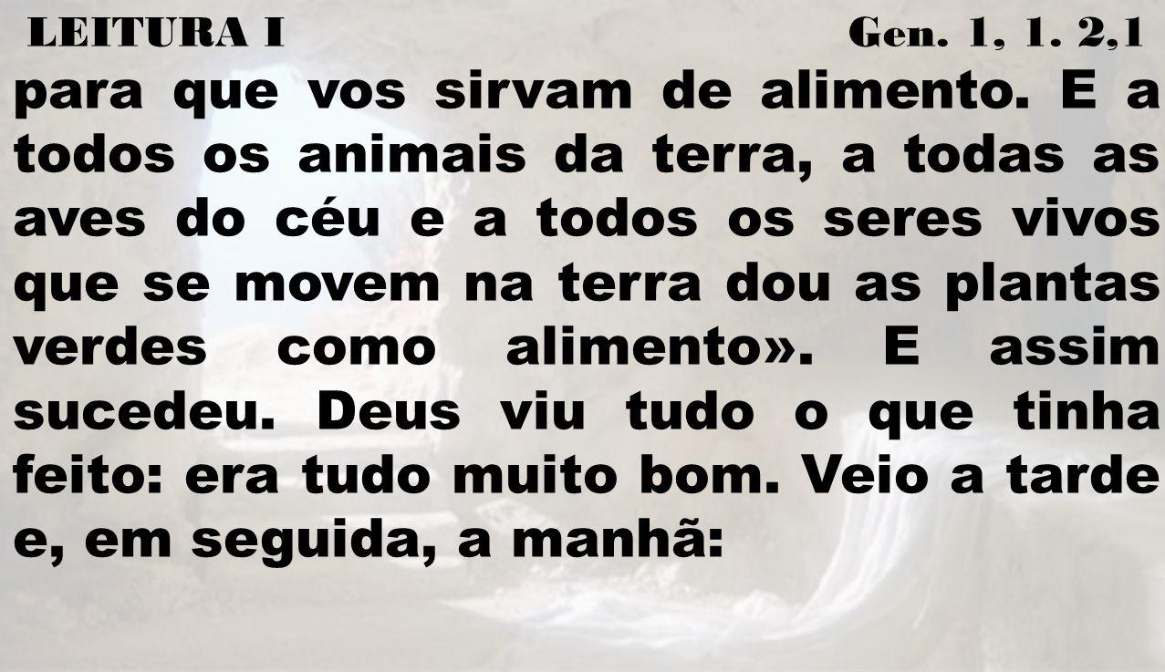 LEITURA I Gen. 1, 1. 2,1 para que vos sirvam de alimento. E a todos os animais da terra, a todas as aves do céu e a todos os seres vivos que se movem