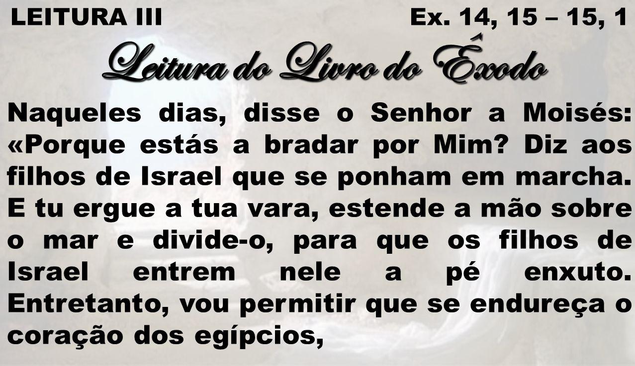 LEITURA III Ex. 14, 15 – 15, 1 Leitura do Livro do Êxodo Naqueles dias, disse o Senhor a Moisés: «Porque estás a bradar por Mim? Diz aos filhos de Isr