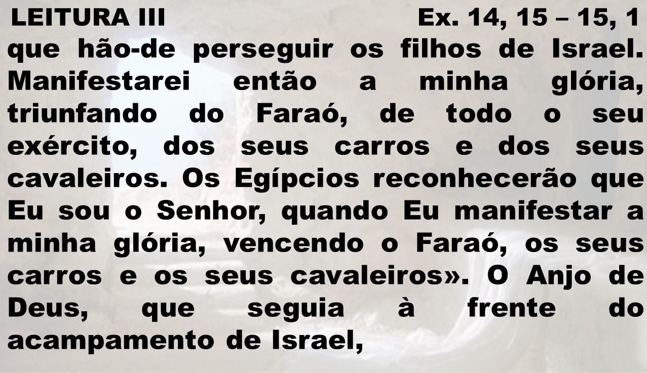 LEITURA III Ex. 14, 15 – 15, 1 que hão-de perseguir os filhos de Israel. Manifestarei então a minha glória, triunfando do Faraó, de todo o seu exércit