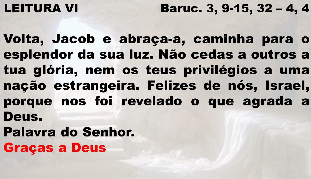 LEITURA VI Baruc. 3, 9-15, 32 – 4, 4 Volta, Jacob e abraça-a, caminha para o esplendor da sua luz. Não cedas a outros a tua glória, nem os teus privil