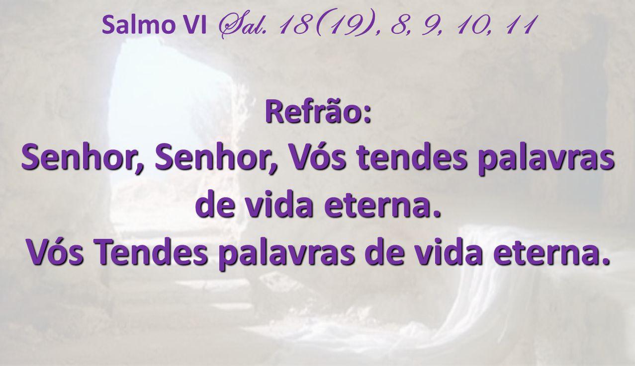 Salmo VI Sal. 18(19), 8, 9, 10, 11Refrão: Senhor, Senhor, Vós tendes palavras de vida eterna. Vós Tendes palavras de vida eterna.