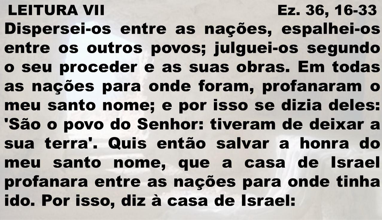LEITURA VII Ez. 36, 16-33 Dispersei-os entre as nações, espalhei-os entre os outros povos; julguei-os segundo o seu proceder e as suas obras. Em todas