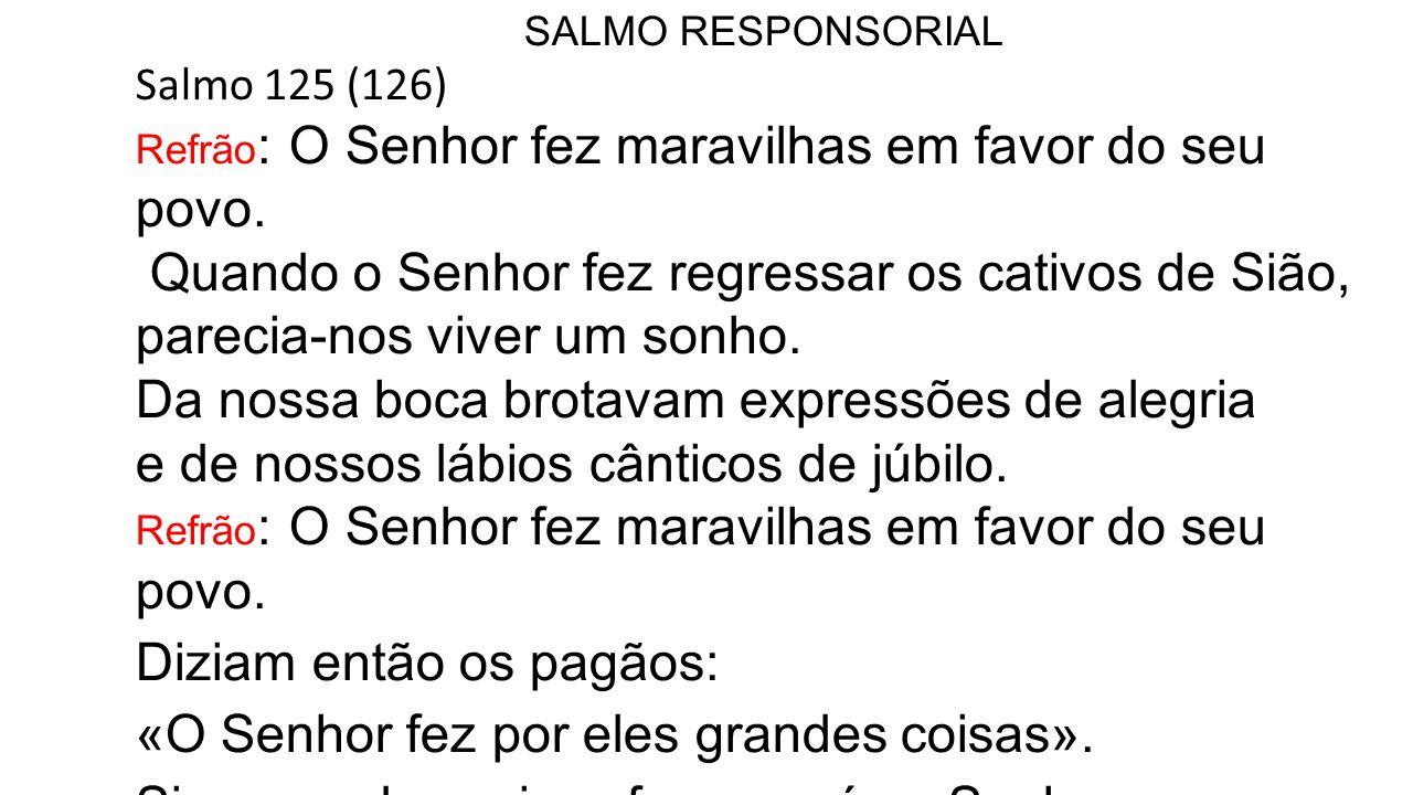 SALMO RESPONSORIAL Salmo 125 (126) Refrão : O Senhor fez maravilhas em favor do seu povo. Quando o Senhor fez regressar os cativos de Sião, parecia-no