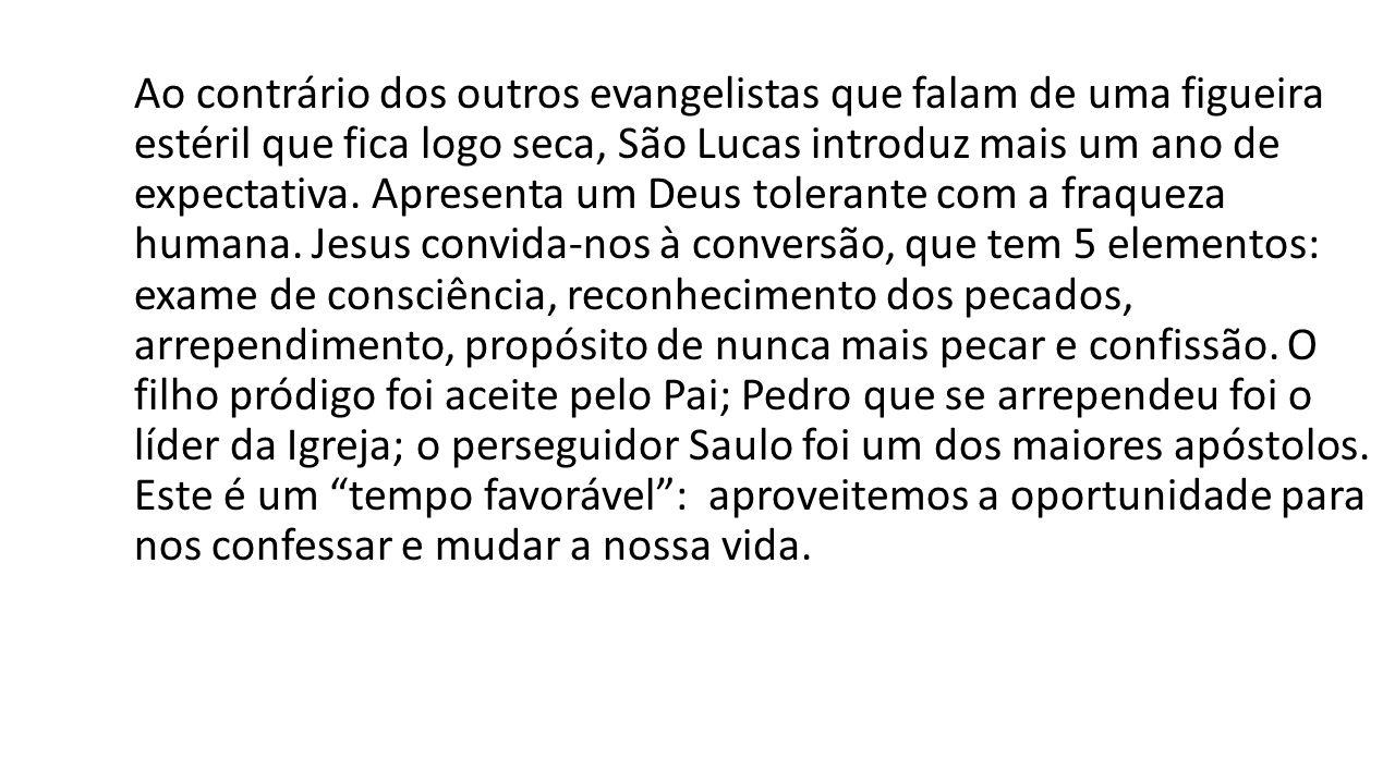 Ao contrário dos outros evangelistas que falam de uma figueira estéril que fica logo seca, São Lucas introduz mais um ano de expectativa. Apresenta um