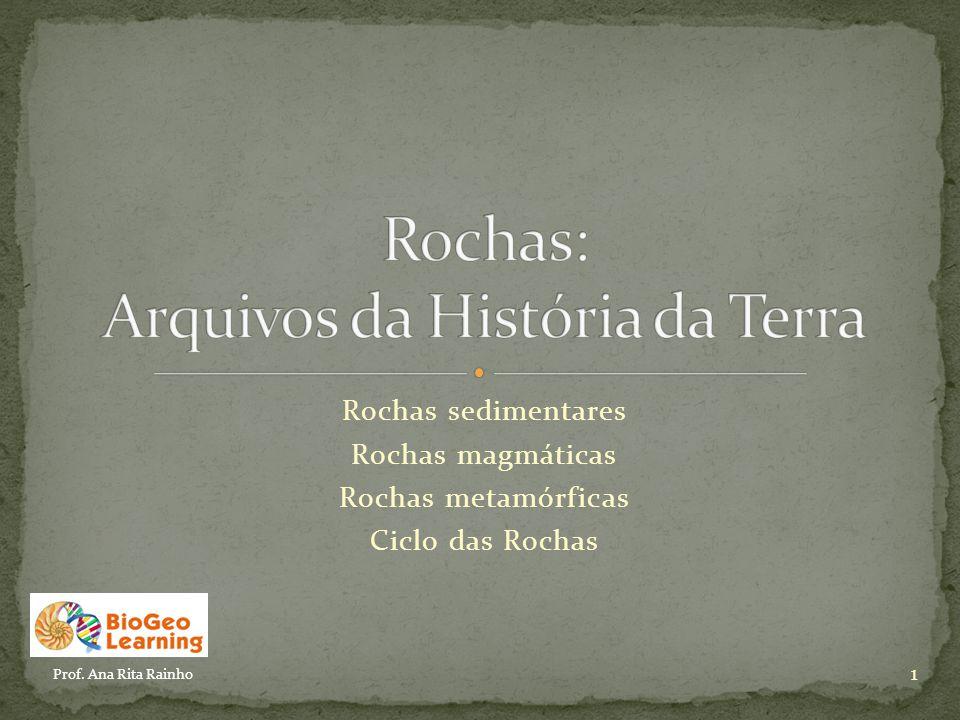 Rochas sedimentares Rochas magmáticas Rochas metamórficas Ciclo das Rochas 1 Prof. Ana Rita Rainho