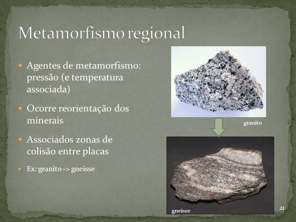 Agentes de metamorfismo: pressão (e temperatura associada) Ocorre reorientação dos minerais Associados zonas de colisão entre placas Ex: granito -> gn