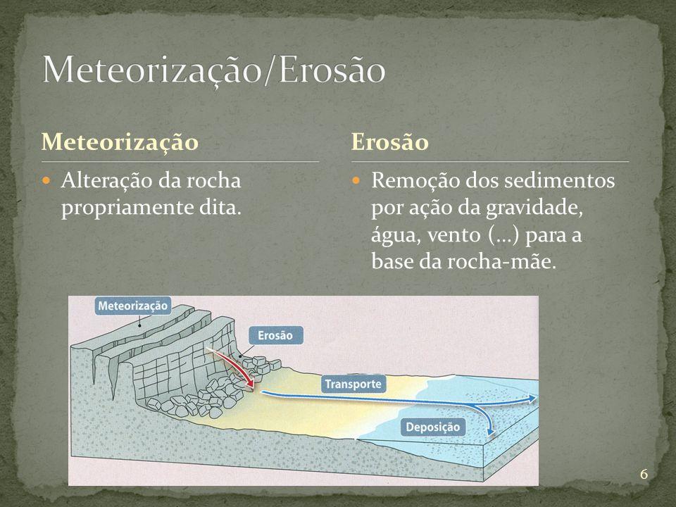 Meteorização Alteração da rocha propriamente dita. Erosão Remoção dos sedimentos por ação da gravidade, água, vento (…) para a base da rocha-mãe. 6