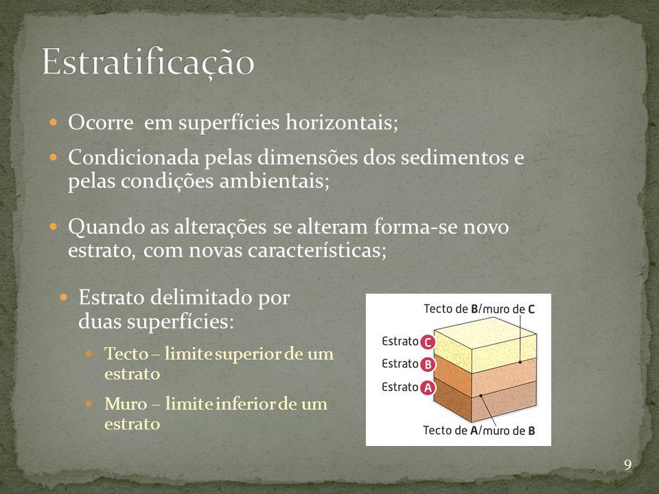 Estrato delimitado por duas superfícies: Tecto – limite superior de um estrato Muro – limite inferior de um estrato Ocorre em superfícies horizontais;