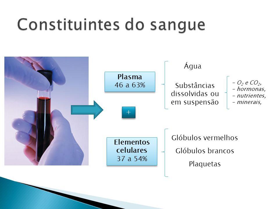 Plasma 46 a 63% Plasma 46 a 63% + + Elementos celulares 37 a 54% Elementos celulares 37 a 54% Glóbulos vermelhos Glóbulos brancos Plaquetas Água Subst