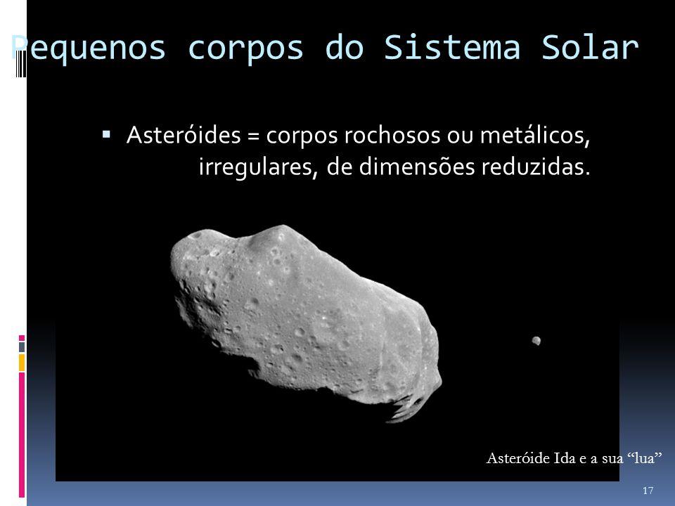 Pequenos corpos do Sistema Solar Asteróides = corpos rochosos ou metálicos, irregulares, de dimensões reduzidas. Asteróide Ida e a sua lua 17