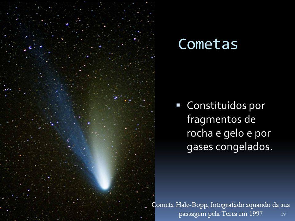 Cometas Constituídos por fragmentos de rocha e gelo e por gases congelados. 19 Cometa Hale-Bopp, fotografado aquando da sua passagem pela Terra em 199