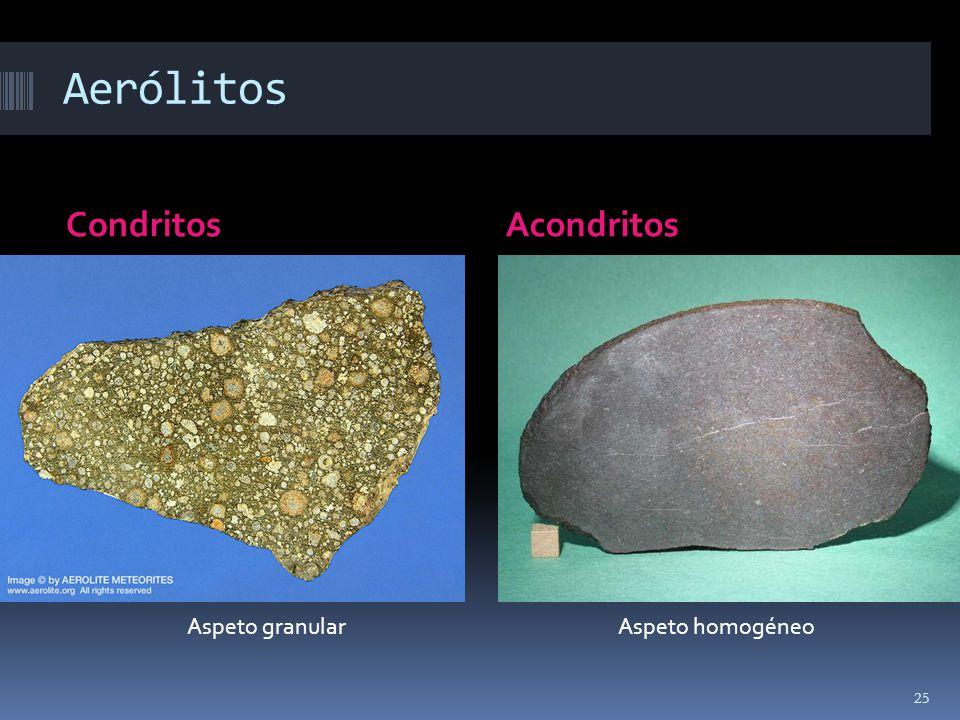 Aerólitos CondritosAcondritos Aspeto granularAspeto homogéneo 25
