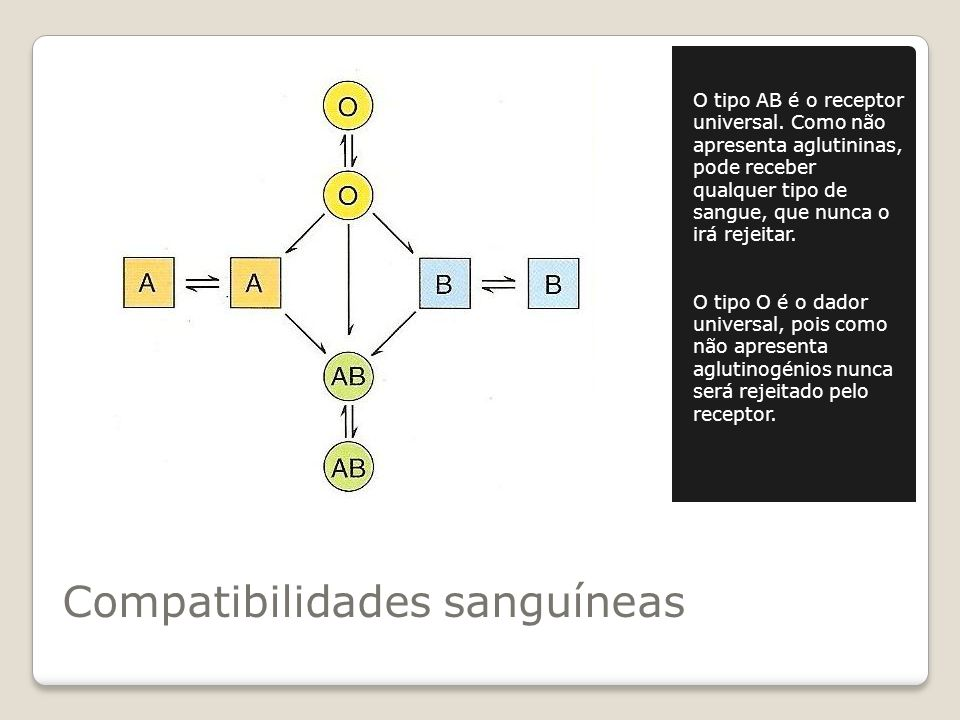 Compatibilidades sanguíneas O tipo AB é o receptor universal.