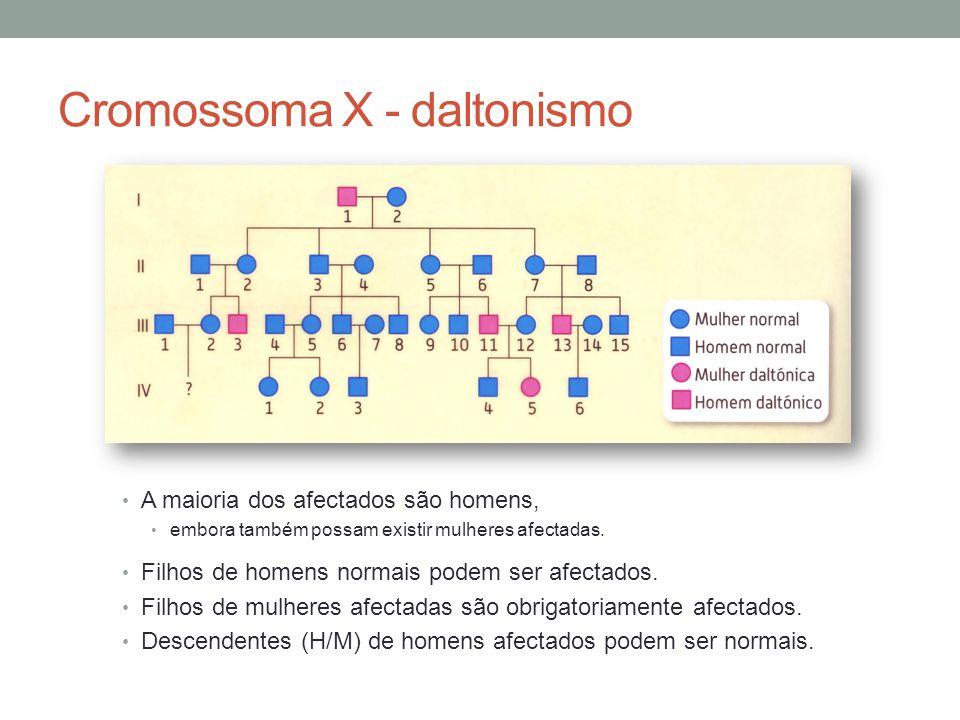 Cromossoma X - daltonismo A maioria dos afectados são homens, embora também possam existir mulheres afectadas. Filhos de homens normais podem ser afec