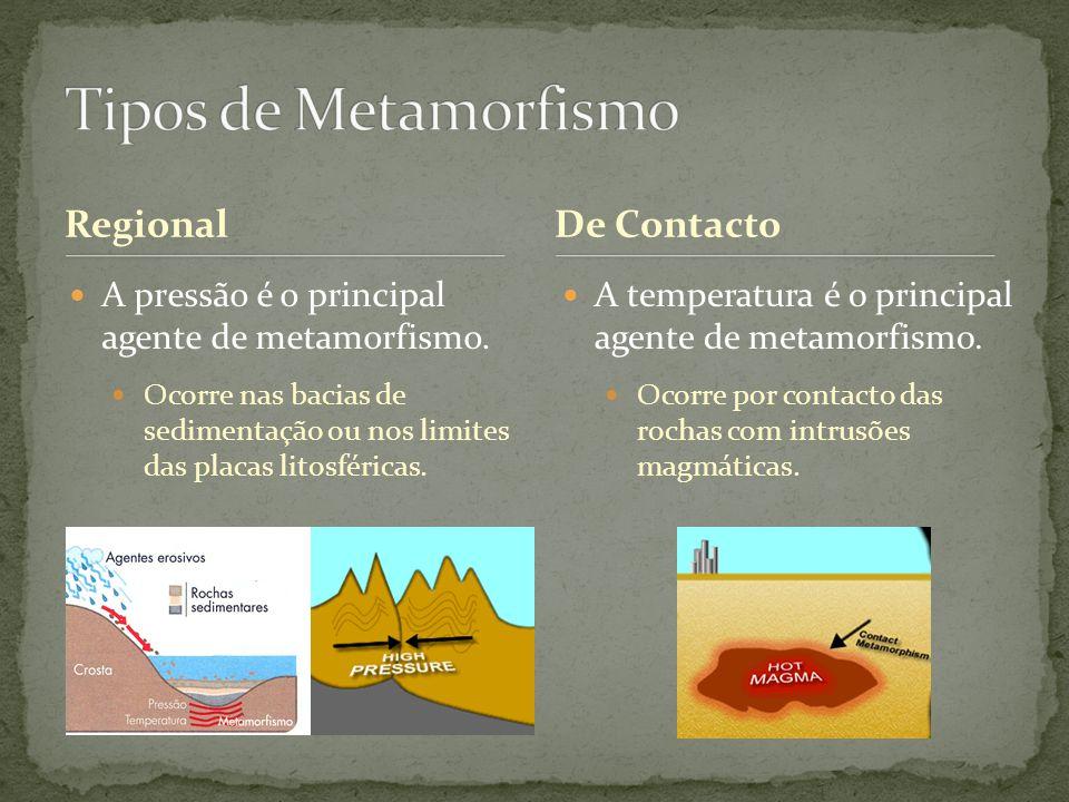 Regional A pressão é o principal agente de metamorfismo. Ocorre nas bacias de sedimentação ou nos limites das placas litosféricas. A temperatura é o p
