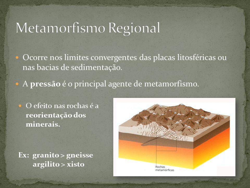 Ocorre nos limites convergentes das placas litosféricas ou nas bacias de sedimentação. A pressão é o principal agente de metamorfismo. O efeito nas ro