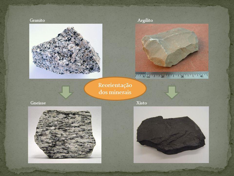 Granito Gneisse Argilito Xisto Reorientação dos minerais