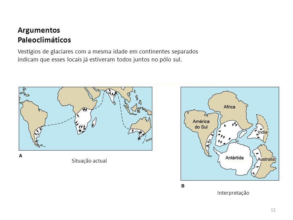 Argumentos Paleoclimáticos Vestígios de glaciares com a mesma idade em continentes separados indicam que esses locais já estiveram todos juntos no pól