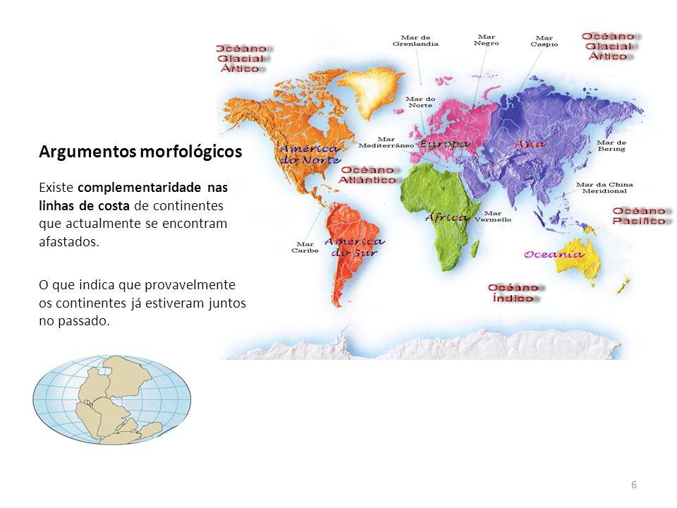 Argumentos morfológicos Existe complementaridade nas linhas de costa de continentes que actualmente se encontram afastados. O que indica que provavelm