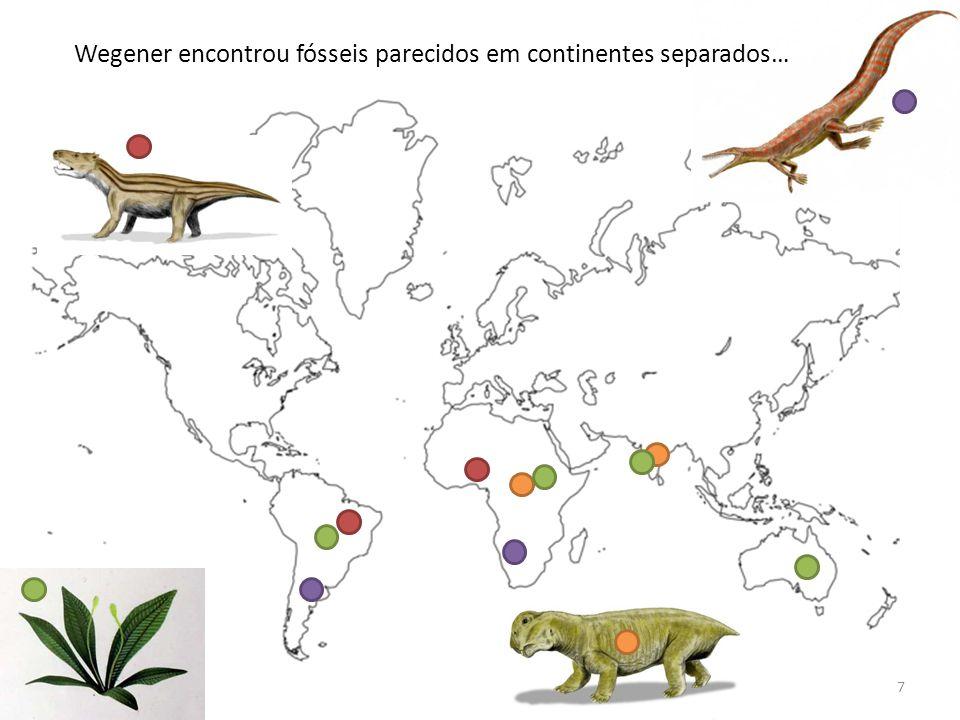 7 Wegener encontrou fósseis parecidos em continentes separados…