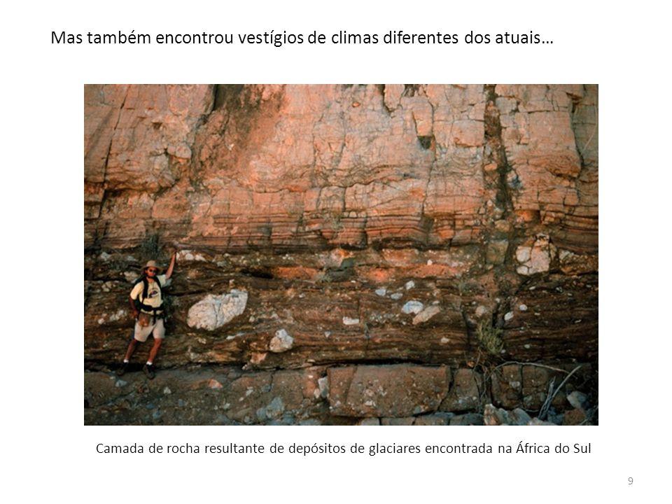 9 Mas também encontrou vestígios de climas diferentes dos atuais… Camada de rocha resultante de depósitos de glaciares encontrada na África do Sul