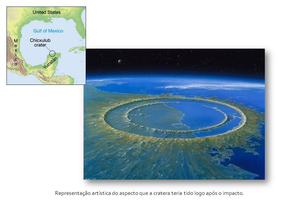 Representação artística do aspecto que a cratera teria tido logo após o impacto.