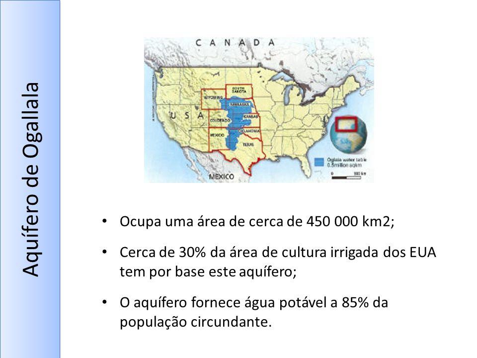 Aquífero de Ogallala Ocupa uma área de cerca de 450 000 km2; Cerca de 30% da área de cultura irrigada dos EUA tem por base este aquífero; O aquífero fornece água potável a 85% da população circundante.