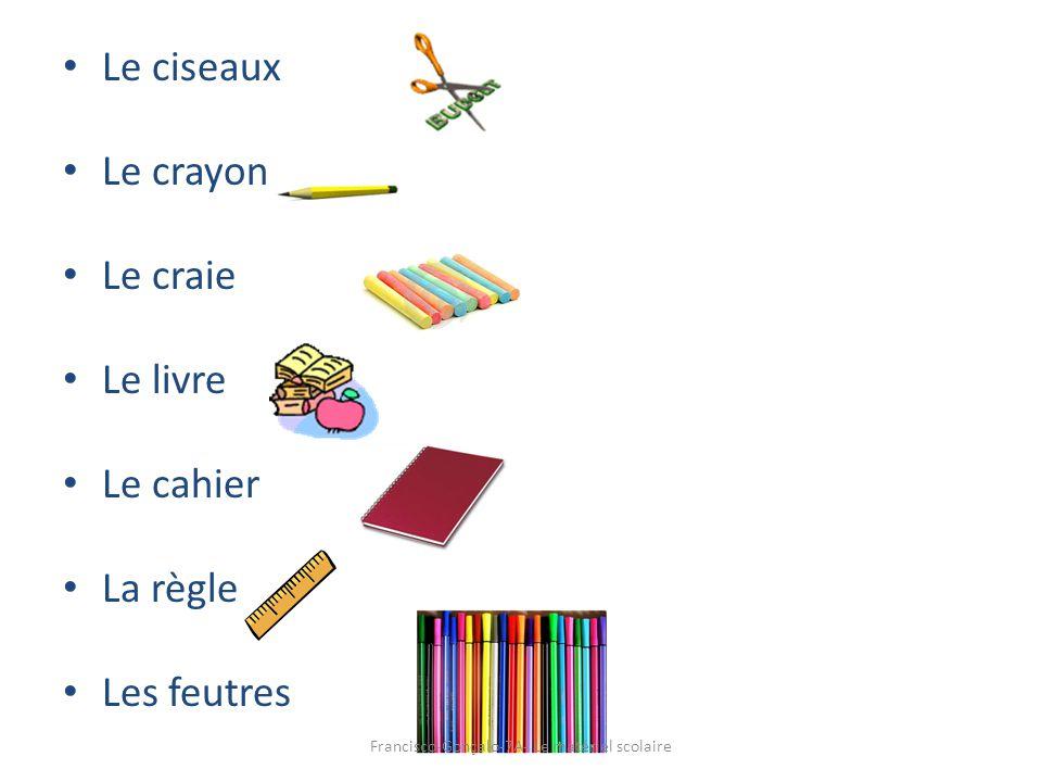 Le ciseaux Le crayon Le craie Le livre Le cahier La règle Les feutres Francisco-Gonçalo-7A- Le matériel scolaire