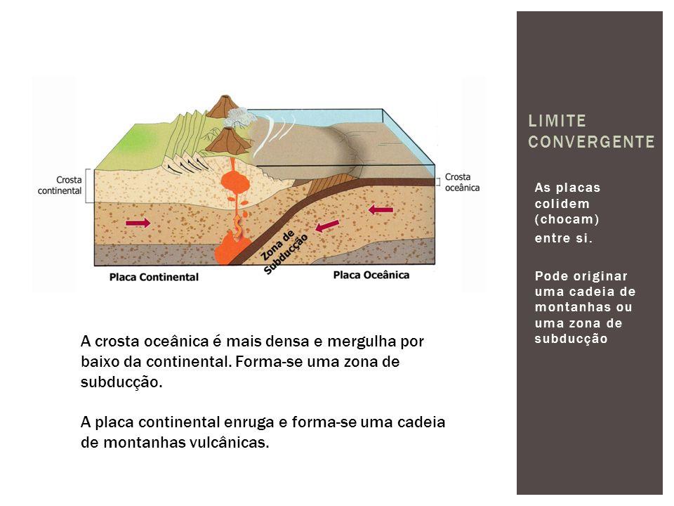 As placas colidem (chocam) entre si. Pode originar uma cadeia de montanhas ou uma zona de subducção LIMITE CONVERGENTE A crosta oceânica é mais densa