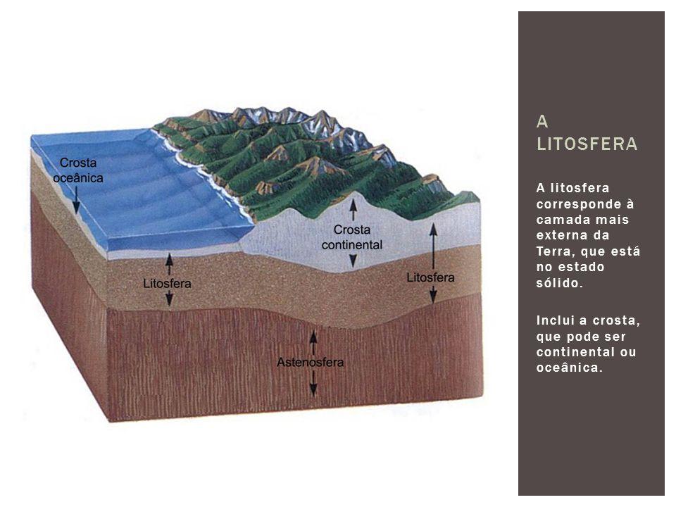 A litosfera corresponde à camada mais externa da Terra, que está no estado sólido. Inclui a crosta, que pode ser continental ou oceânica. A LITOSFERA