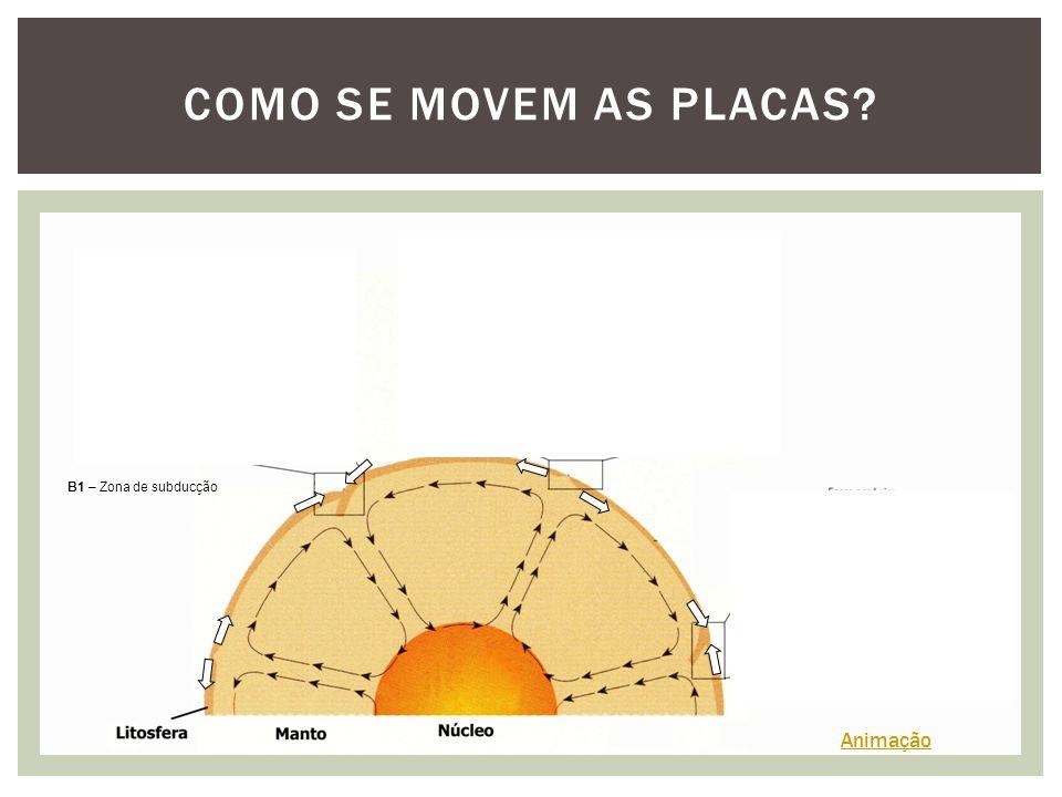 COMO SE MOVEM AS PLACAS? A – Dorsal Oceânica B2 – Zona de subducção B1 – Zona de subducção Animação