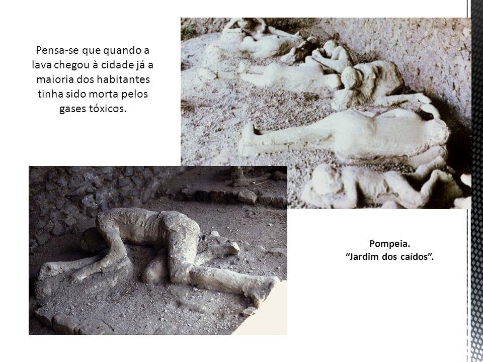 Pensa-se que quando a lava chegou à cidade já a maioria dos habitantes tinha sido morta pelos gases tóxicos. Pompeia. Jardim dos caídos.