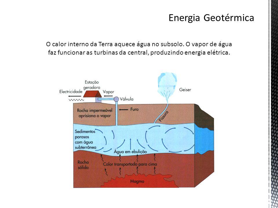 O calor interno da Terra aquece água no subsolo. O vapor de água faz funcionar as turbinas da central, produzindo energia elétrica.