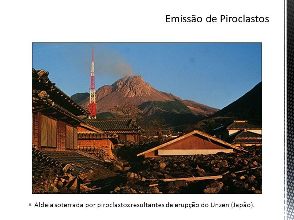 Aldeia soterrada por piroclastos resultantes da erupção do Unzen (Japão).