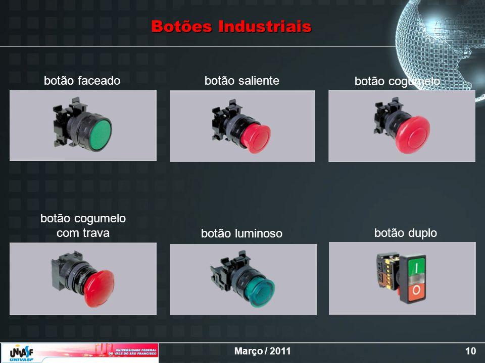 Março / 201110 botão faceadobotão saliente botão cogumelo com trava botão luminoso botão duplo Botões Industriais